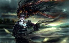 арт, девушка, осень, дерево, ветки, листья, шар, сфера, магия, украшения, ветер