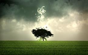 arbre abstrait, champ, arbre solitaire, Dark Clouds, l'herbe verte, formes abstraites