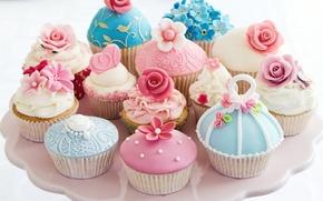 кексы, формы, крем, десерт, цветы, сердечко