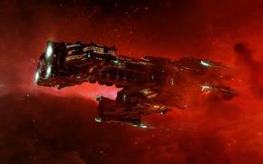 Космос, галактика, шатл, Гиперион, красный