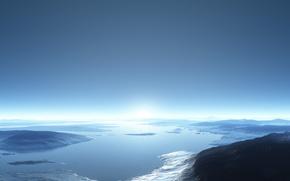 cielo, Montaas, paisaje, agua
