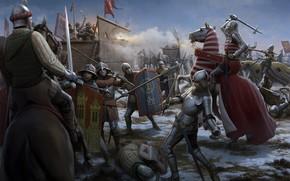 battaglia, Guerra, arma, cavallo, bandiera, spada, merda, lancia, Medioevo