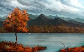 Arte, otoo, Montaas, ro, rbol, las nubes, Aves