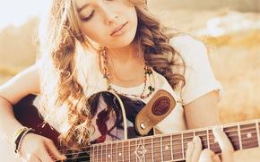 ragazza, chitarra, musica