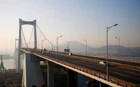 maquinaria, ponte, estrada