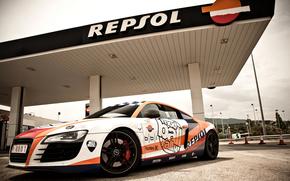 Auto, macchinario, Sintonia, strada, carica, distributore di benzina, Audi
