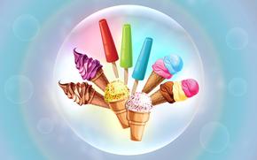 ice cream, cream, cream, horn, vanilla, chocolate, Bubbles, gently, Sweets, frozen juice, Waffles