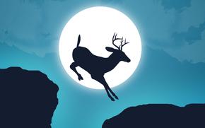 Deer, moon, sky, haze, Gulf, break, jump, Horn, silhouette