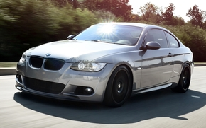 BMW, compartment, front, Tuning, gray, road, highlight, bmw