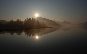 berth, wharf, pier, lake, smooth surface, reflection, Hills, fog, Trees, Morning, sun, Sunrise