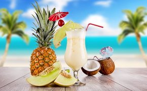 cocktail, goblet, coconut, pineapple, table, sky, clouds, Palms, sea, tubules, skewer, cherry