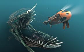 Arte, sott'acqua, mostro, sottomarino, nave, fauci, canini, semaforo, inseguimento