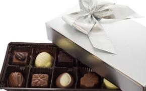 Sigkeiten, Box, Geschenk, Schokolade, Milch, dunkel, Wei, s