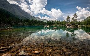 lago, Montagne, cielo, natura, paesaggio