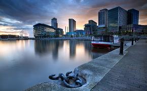 city, night, wharf, river