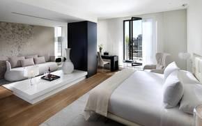 интерьер, дизайн, стиль, спальня, светлая, белая, комната, балкон, кресла, кровать, диван, подушки, столик, лампа, ваза