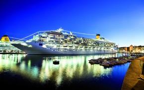 пятизвездочный, круизное судно, порт, ночь, Другая техника