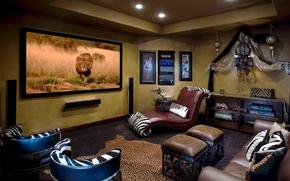 interno, Stile africano, safari, design, stile, camera, divano, sedia, Cuscino, TV, leone, Lions, zebra, fiori