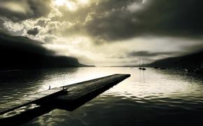 lake, smooth surface, berth, wharf, pier, board, Hills, Ships, sailing ship, Yacht, fog