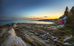 Abend, Bucht, Meer, Steine, nach Hause