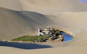 Porcellana, Il Deserto del Gobi, Lago Yueyatsyuan, sabbia, oasi, natura, acqua