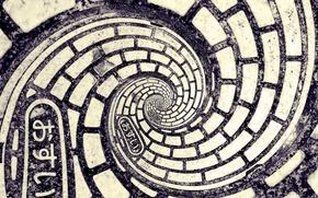 спираль, иероглифы, черно-белая