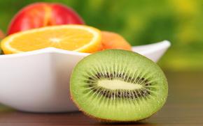 plate, fruit, kiwi, orange, apple