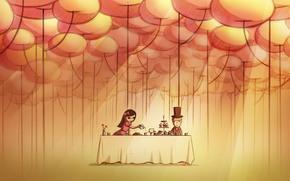 wallpaper, art, picture, pair, dinner, date, romance, Tea Party, balls.
