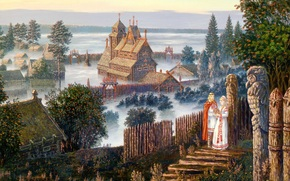 Vsevolod Ivanov, The forthcoming discussion, Wood, home, Vedic Temple, fog, hill, man, woman, Casket, summer, rowan trees, Russian folklore, Slavic painting, ART