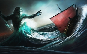 sea, waves, storm, ship, sailing ship, Poseidon, trident, battle