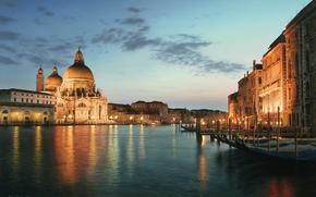 Veneza  noite, Veneza, Itlia, O Grande Canal, A Catedral de Santa Maria della Salute, baslica, arquitetura, pintura