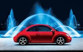 rot, Brunnen, Kfer, Nacht, Licht, Volkswagen