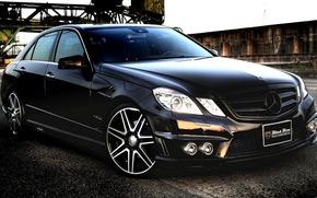 car, wallpaper, Mercedes, benzo, e-Class, black, Tuning, beautiful, Merc, mercedes