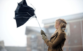 city, girl, wind, umbrella