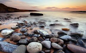mare, tramonto, costa, pietre, paesaggio