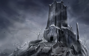 Art, tower, castle, fortress, snow, Winter, Trees, input, Track, gloom