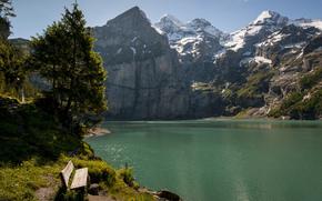 switzerland, Mountains, lake, bench, Trees
