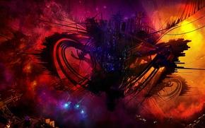 Art, space, Ships, nebula, Lightning