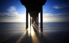 sea, bridge, supports, light, landscape