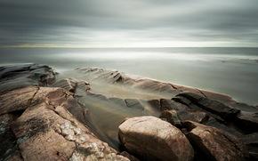 sea, stones, nature, landscape