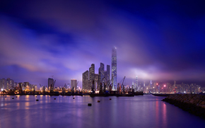 Port, sea, water surface, reflection, sky, color, evening, wharf, lights, megalopolis, Skyscrapers, coast, ship