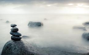 камни, море, туман, природа