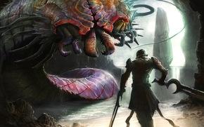 Art, monster, worm, mandibles, Warrior, Armor, sword, weapon, cave, rock, waterfall