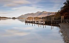 lake, coast, pier, berth, wharf, pebble, Hills, Trees