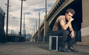Paul Wesley, actor, photo, tattoo, rose, advertising, clothing