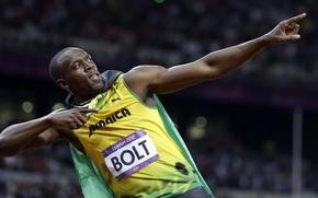 Usain Bolt, uomo, atleta, velocista, corridore, Campione del Mondo, Campione olimpico, Giamaica, gesto, sfondo