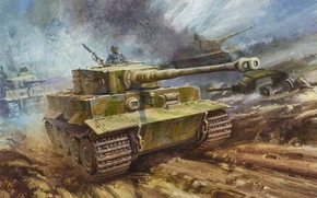 picture, heavy tank, tiger, Wehrmacht, Germans, The Second World