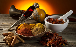 table, spices, mortar, curry, paprika, cinnamon
