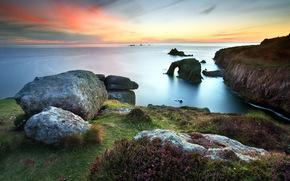sea, sunset, coast, nature, landscape