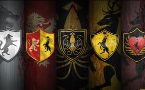 La guerra dei Cinque re, Game of Thrones, Le Cronache del Ghiaccio e del Fuoco, Rigido, Baratheon, Arren, Greyjoy, stemma, lupo, cervo, polpo, leone